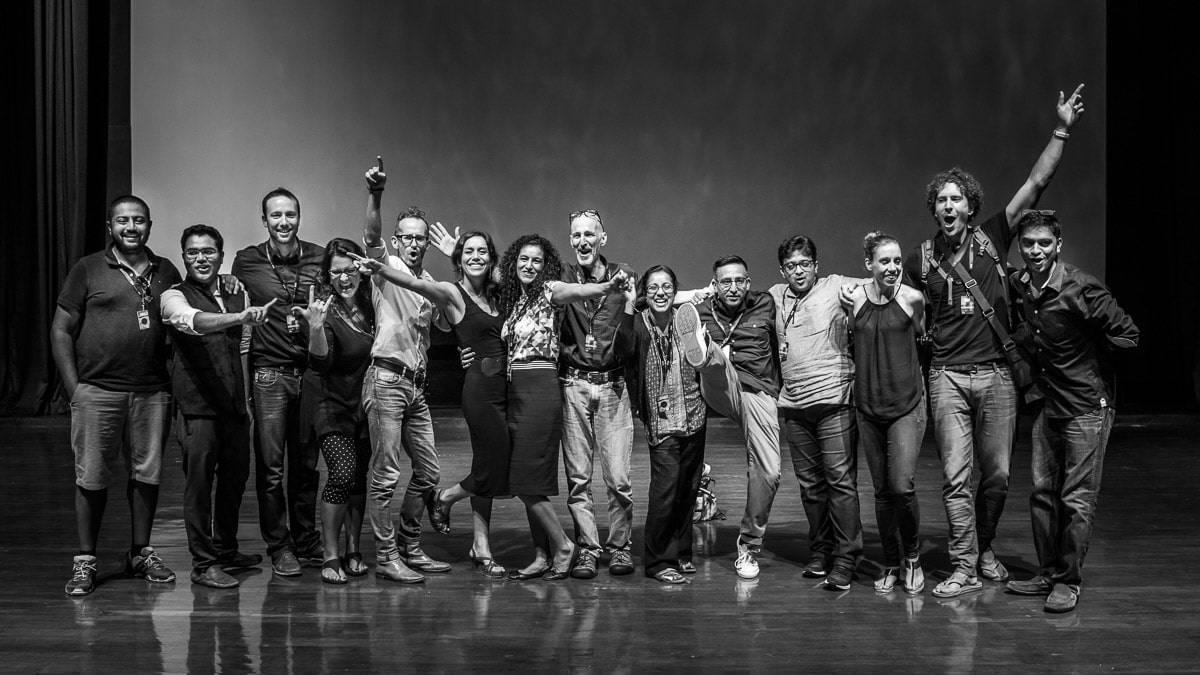 Left to right: Arjun Kartha, Joseph Radhik, Christophe Viseux, Susana Barbera, Franck Boutonnet, Rocio Vega Veroa, Shefi Carmi Bergerson, Sephi Bergerson, Bharti Chavda, Apresh Chavda, Mahesh Shantaram, Erika Jenssen Mann, Lanny Mann and Padmanabhan Thangaraj, on stage at BITS Pilani auditorium at the end of of the second seminars day of SILK INSPIRE 2016.